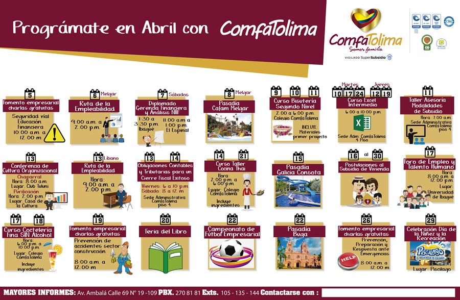 PROGRAMADOR EVENTOS ABRIL COMFATOLIMA